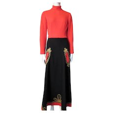 Cossack Style Knit Lounge Dress in Tomato Red and Black with Gold Gimp by Junior Accent Size 11