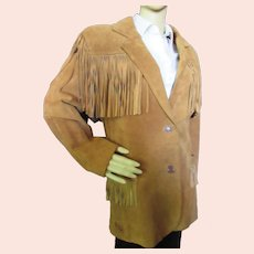 Leather Fringed Jacket Saks Fifth Avenue Gallery Size S AS IS