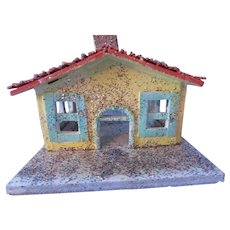 Christmas Holiday Village Cottage Hand Made in Yellow and Green Wood and Glitter