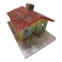 Christmas Village Hand Crafted Seven Buildings Wood & Glitter