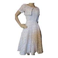 Mid Century Dance Dress White Lace Matching Bolero