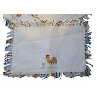Rooster Theme Cocktail Napkins with Fringed Edges Colorful Yellow, Red, Blue, Green Set of 10 Free Shipping USA