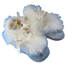 Sweetest Baby or Doll Slippers in Quilted Blue with White Fur Edges Mrs. Day's Ideal Baby Shoes