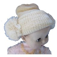 Cutest Baby or Large Doll Bonnet in Cream Tone Knit with Puffs at Sides