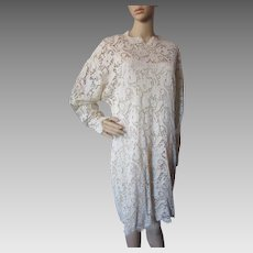 Linda Allard Ellen Tracy '90's Cream Lace Dress with Silk Underslip Made in Hong Kong Size 12