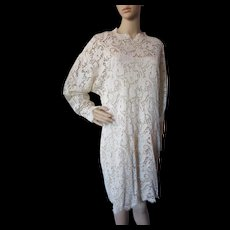 Linda Allard Ellen Tracy '90's Cream Lace Dress with Silk Underslip Made in Hong Kong Size 12