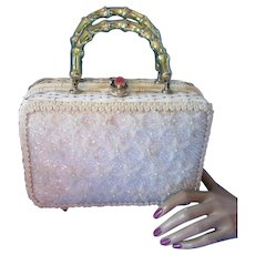 Magid Hand Made Purse in White Wicker with Bead Decoration Made in Japan for Saks Fifth Avenue