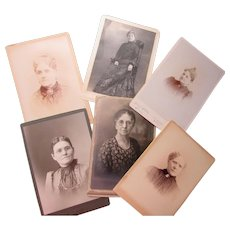 Grouping Six Cabinet Size Photographs of Victorian Era Older Women Fashions Hairstyles Jewelry