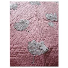 Child Quilt Scattered White Chenille Kittens on Pink Quilted Background