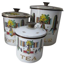 Set Four Canisters by Georges Briard Mid Century Designer Garden Design Pattern Painted Enamel