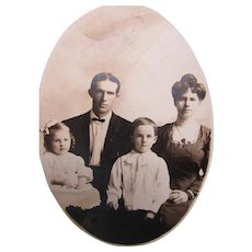 Late Victorian Sepia Photograph of Young Family