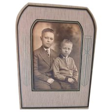 Serious Photo Portrait of Brothers 1940 1950 Era in Deco Style Frame
