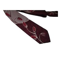 Unisex Necktie Mid Century Oxblood Seed Pods on Maroon & Putty Majestic Brand