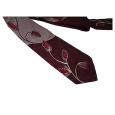 Unisex Necktie Mid Century Oxblood Seed Pods on Maroon & Putty Majestic Brand