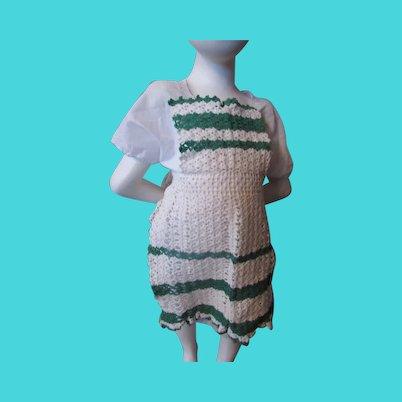 Child Size Crochet Apron White Green Stripes