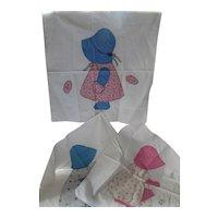 Trio Calico Applique Sunbonnet Quilt Blocks Partially Finished