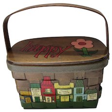 Caro Nan Wood Purse Painted Village Scene Rockford IL  Flowers by Connie