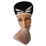 Mod Style 1960's Bubble Hat in Black Velvet with White Vinyl Edging Made in Italy
