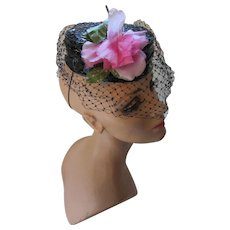 Mid Century Black Patent Leather Pill Box Hat with Peony Pink Rose