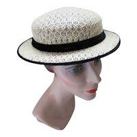 Simple Straw Hat with Black Velvet Ribbon Spring Summer