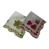 Pair Vintage Handkerchiefs Hankies Fall Theme Maple Leaves Orange Brown Green All Cotton Unused