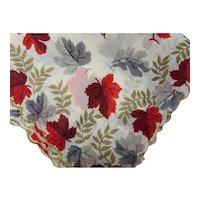 Vintage Handkerchief Hankie Fall Theme Red Maroon & Gray Maple Leaves