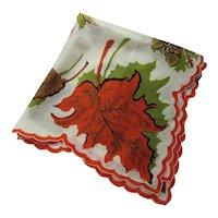 Vintage Handkerchief Fall Theme Oak Leaves & Acorns Orange Green & Brown