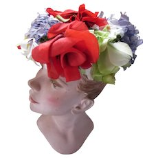 Mid Century Hat Profusion of Flowers Sears Fashion Millinery