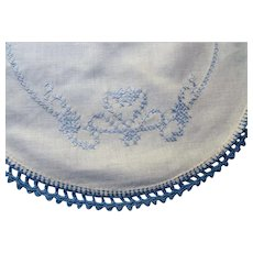 Cottage Style Set Eight Luncheon Round Table Mats Embroidered in Blue Cross Stitch with Heart Design