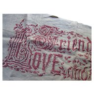 Cross Stitch Motto on Linen in Rusty Red Tones Love, Friendship and Truth Paragon Needlecraft Good Housekeeping Free Shipping USA