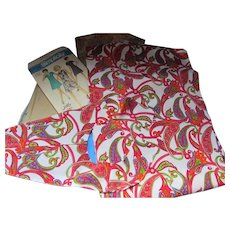 1970 Simplicity Jiffy Dress Pattern and Original Red Paisley Fabric Partially Cut Size 14 1/2