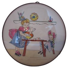 Little Girl Wall Plaque Girl Making Cookies for Doll Cottage Style Convex Round Shape Free Shipping USA