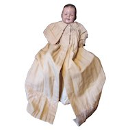 Victorian Edwardian Era Infant or Large Doll Embroidered Coat with Wide Collar in Cream Tone
