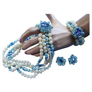 Demi Parure Three Piece Vintage Jewelry Set in Blue Beading and Opaque Faux Pearls