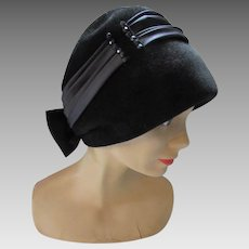 Handsome Black Cloche Winter Fall Hat in Felt with Black Satin Band and Bow and Faceted Beading