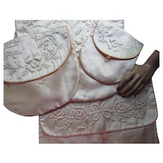 Set Four Vintage Hankie, Hosiery, Lingerie Bags in Pink Satin with Trapunto Embroidery