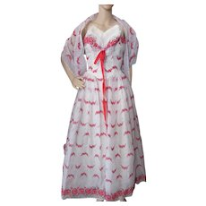 1950 Style Prom or Dance Dress  in White Nylon with Red Flocked Roses Matching Shawl
