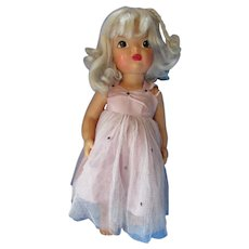 Vintage Terri Lee Pat Pending Doll with Platinum Hair in Lilac Gown and Panties