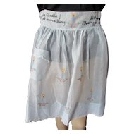 Happy Birthday Apron in Baby Blue Organdy with Embroidered Wishes and Candles