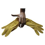 Lemon Yellow Vintage Ladies Gloves Wrist Length Free Shipping USA