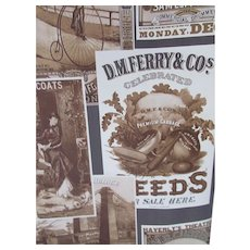 Vintage Wallpaper Nostalgic Sepia Advertising Collage Style Pre-Pasted J & P Coats Pullman Compartment Cars Hair Restorer 2 Rolls