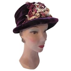 Aubergine Velvet Hat with Velvet Floral Spray