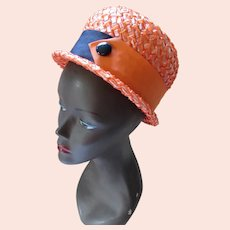 Mid Century Bucket Cello Hat in Bright Orange and Black Ribbons