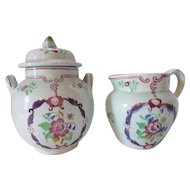 Calyx Ware Sugar and Creamer Country Floral Hand Painted Adams England