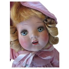 Horsman Doll Composition Gold Medal Baby Super Quality in Pink Coat Bonnet and Dotted Swiss Dress