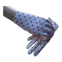 Mid Century Ladies Glove White with Red Polka Dots