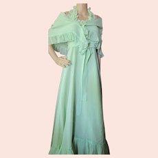 Flowing Mint Green Long Dress Smocked Bodice Ruffled Shawl