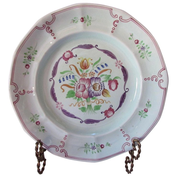 Adams Calyx Ware Hand Painted Dinner Plate Country Floral Design  sc 1 st  Ruby Lane & Adams Calyx Ware Hand Painted Dinner Plate Country Floral Design ...