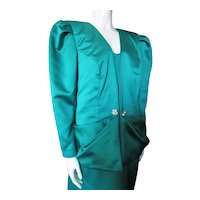 Emerald Green Satin 1980 Big Shoulder Evening Suit Size 14