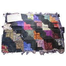 Very Vintage Log Cabin Pillow Top in Variety of Silks Jewel Tones Provenance Note